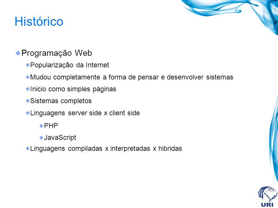 Histórico Programação Web Popularização da Internet Mudou completamente a forma de pensar e desenvolver sistemas Inicio como simples páginas Sistemas completos Linguagens server side x client side PHP JavaScript Linguagens compiladas x interpretadas x hibridas