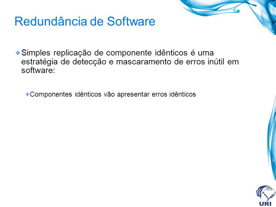 Redundância de Software Simples replicação de componente idênticos é uma estratégia de detecção e mascaramento de erros inútil em software: Componente
