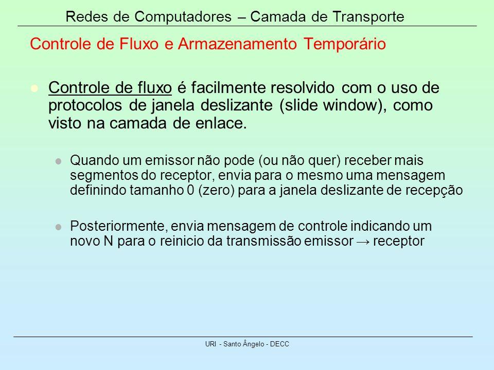 Redes de Computadores – Camada de Transporte URI - Santo Ângelo - DECC Controle de Fluxo e Armazenamento Temporário Controle de fluxo é facilmente res