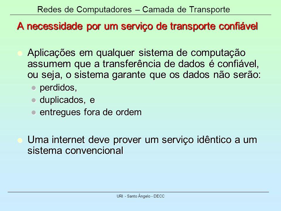 Redes de Computadores – Camada de Transporte URI - Santo Ângelo - DECC A necessidade por um serviço de transporte confiável Aplicações em qualquer sis