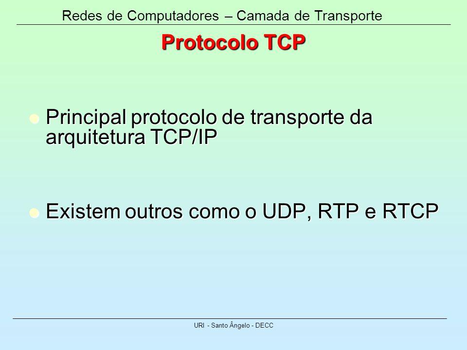 Redes de Computadores – Camada de Transporte URI - Santo Ângelo - DECC Protocolo TCP Principal protocolo de transporte da arquitetura TCP/IP Principal