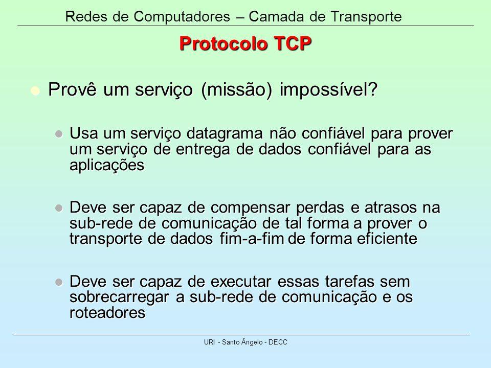 Redes de Computadores – Camada de Transporte URI - Santo Ângelo - DECC Protocolo TCP Provê um serviço (missão) impossível? Provê um serviço (missão) i