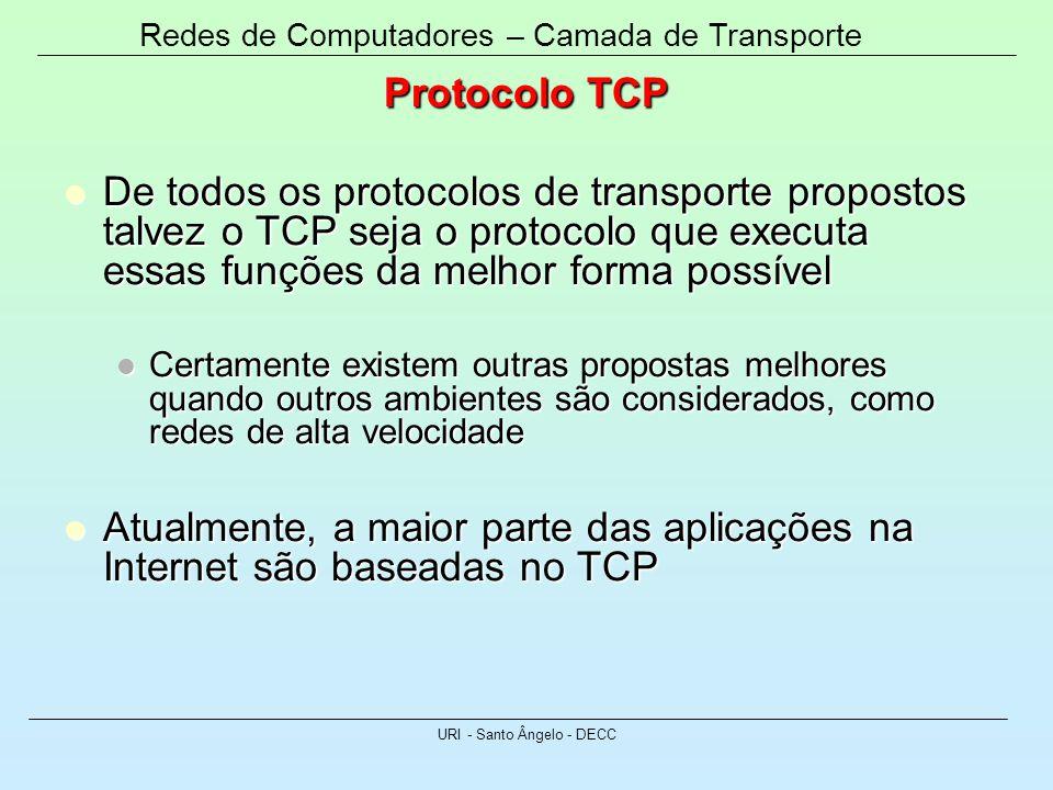 Redes de Computadores – Camada de Transporte URI - Santo Ângelo - DECC Protocolo TCP De todos os protocolos de transporte propostos talvez o TCP seja