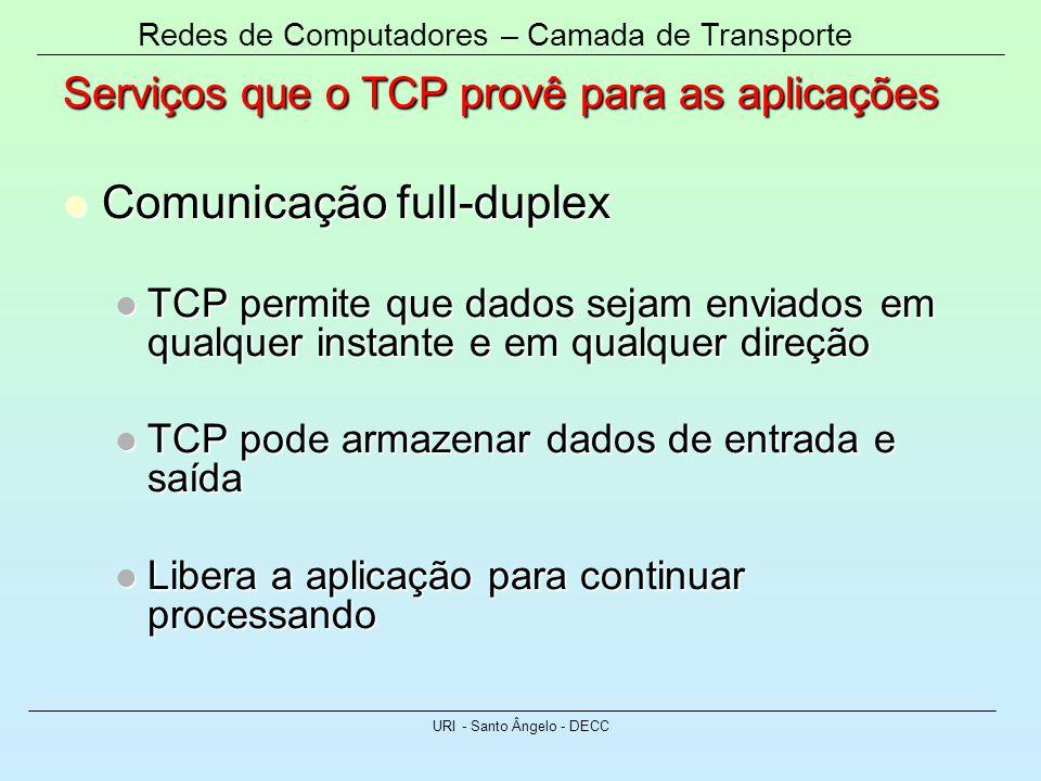 Redes de Computadores – Camada de Transporte URI - Santo Ângelo - DECC Serviços que o TCP provê para as aplicações Comunicação full-duplex Comunicação