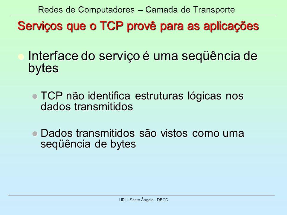 Redes de Computadores – Camada de Transporte URI - Santo Ângelo - DECC Serviços que o TCP provê para as aplicações Interface do serviço é uma seqüênci