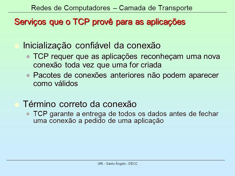 Redes de Computadores – Camada de Transporte URI - Santo Ângelo - DECC Serviços que o TCP provê para as aplicações Inicialização confiável da conexão