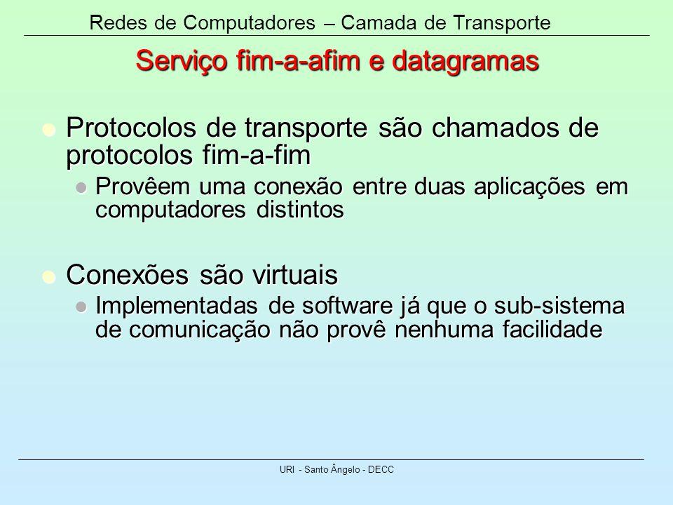 Redes de Computadores – Camada de Transporte URI - Santo Ângelo - DECC Serviço fim-a-afim e datagramas Protocolos de transporte são chamados de protoc