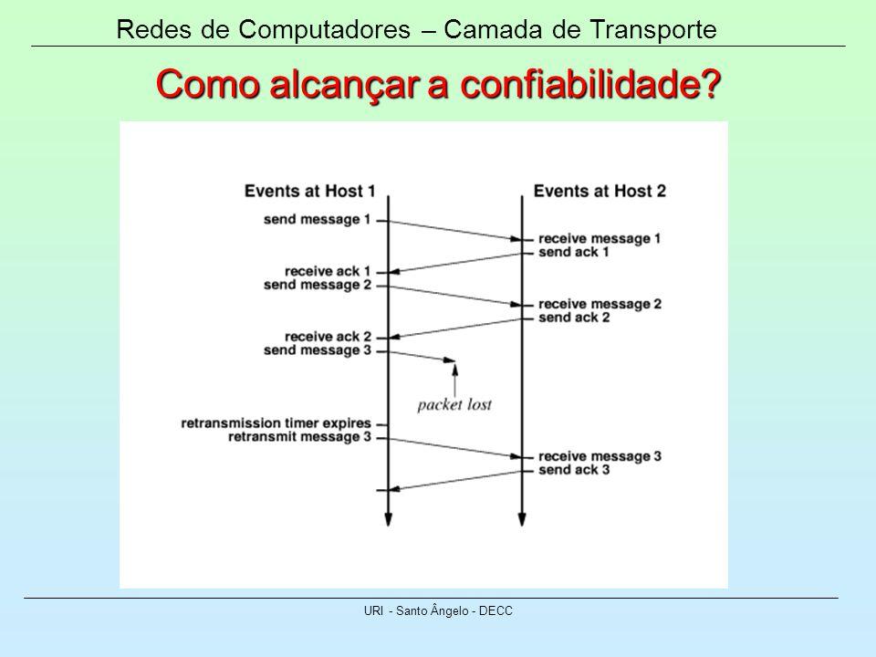 Redes de Computadores – Camada de Transporte URI - Santo Ângelo - DECC Como alcançar a confiabilidade?
