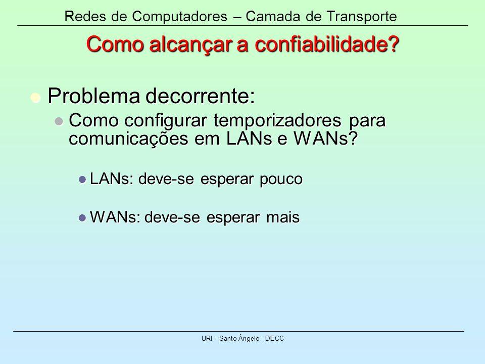 Redes de Computadores – Camada de Transporte URI - Santo Ângelo - DECC Como alcançar a confiabilidade? Problema decorrente: Problema decorrente: Como