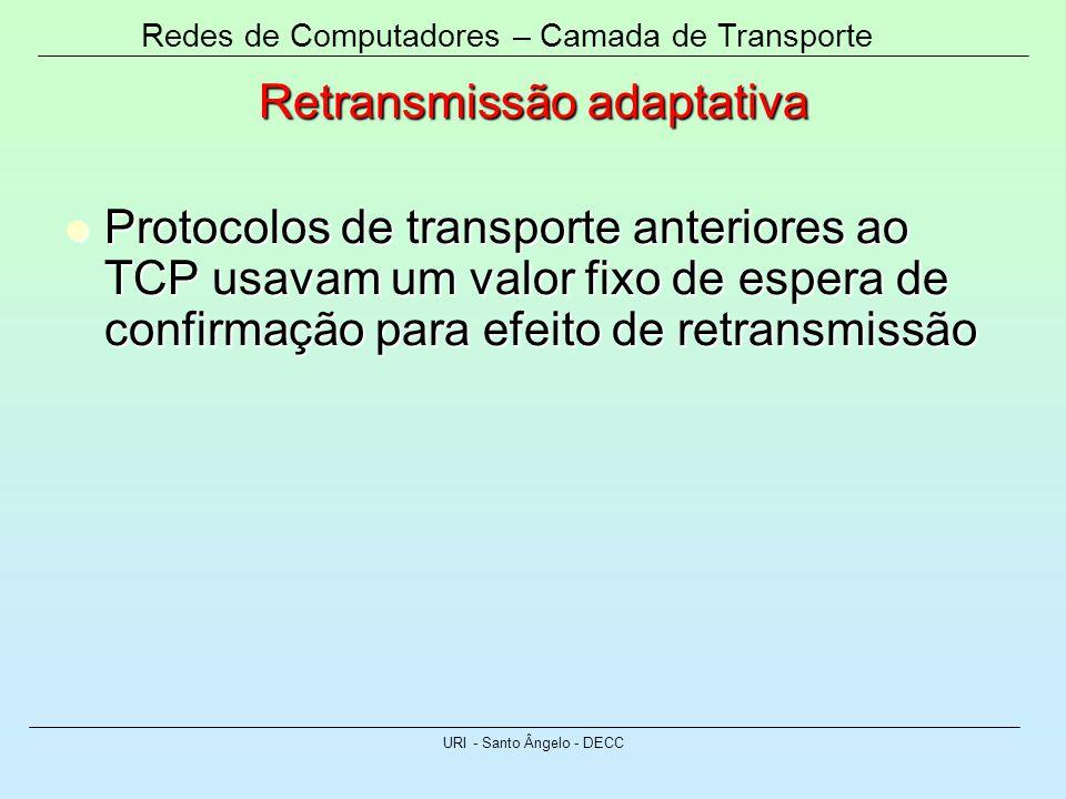 Redes de Computadores – Camada de Transporte URI - Santo Ângelo - DECC Retransmissão adaptativa Protocolos de transporte anteriores ao TCP usavam um v