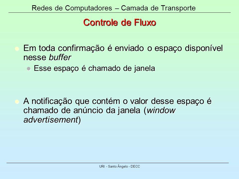 Redes de Computadores – Camada de Transporte URI - Santo Ângelo - DECC Controle de Fluxo Em toda confirmação é enviado o espaço disponível nesse buffe