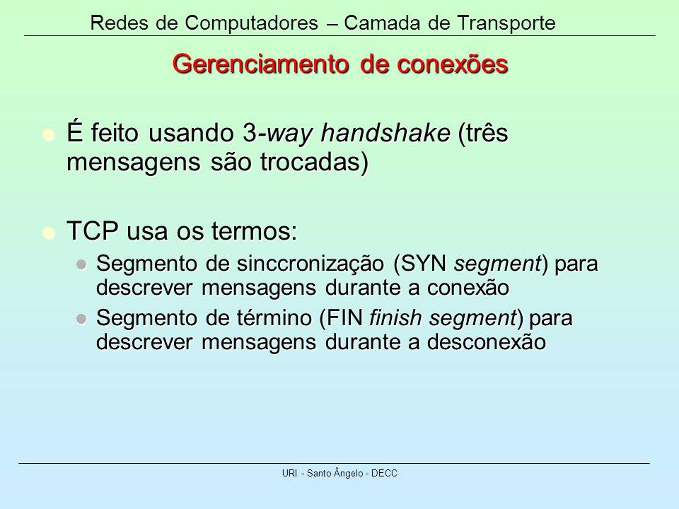 Redes de Computadores – Camada de Transporte URI - Santo Ângelo - DECC Gerenciamento de conexões É feito usando 3-way handshake (três mensagens são tr