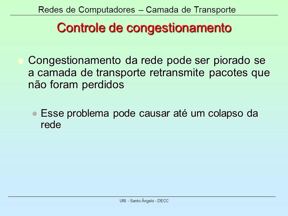 Redes de Computadores – Camada de Transporte URI - Santo Ângelo - DECC Controle de congestionamento Congestionamento da rede pode ser piorado se a cam