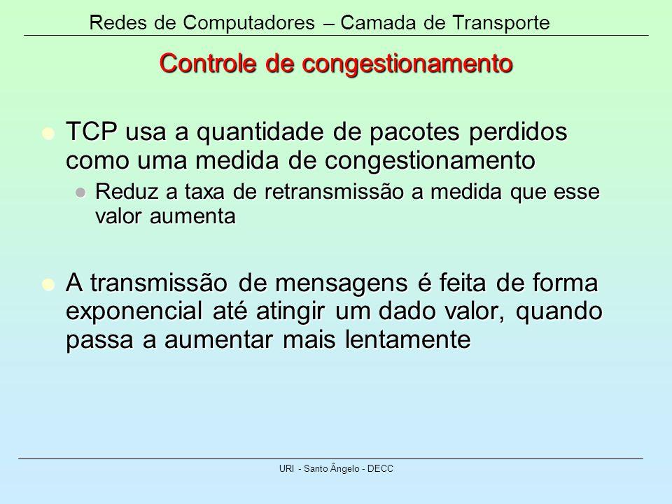 Redes de Computadores – Camada de Transporte URI - Santo Ângelo - DECC Controle de congestionamento TCP usa a quantidade de pacotes perdidos como uma
