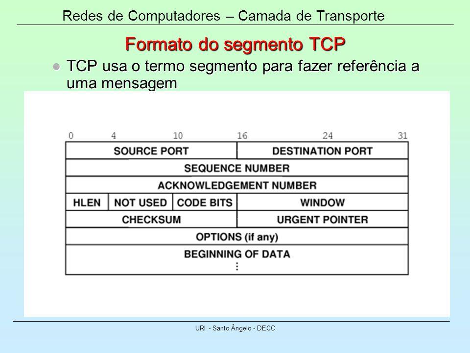 Redes de Computadores – Camada de Transporte URI - Santo Ângelo - DECC Formato do segmento TCP TCP usa o termo segmento para fazer referência a uma me