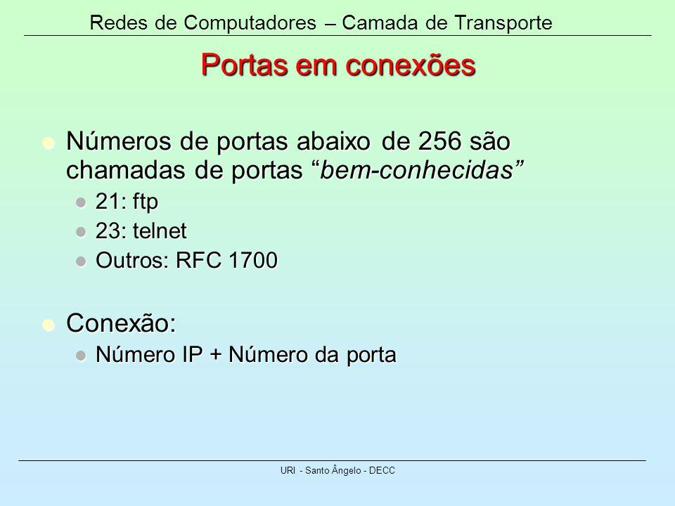 Redes de Computadores – Camada de Transporte URI - Santo Ângelo - DECC Portas em conexões Números de portas abaixo de 256 são chamadas de portas bem-c