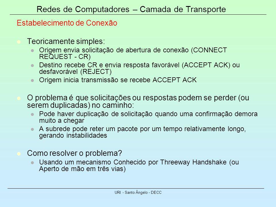 Redes de Computadores – Camada de Transporte URI - Santo Ângelo - DECC Estabelecimento de Conexão Teoricamente simples: Origem envia solicitação de ab