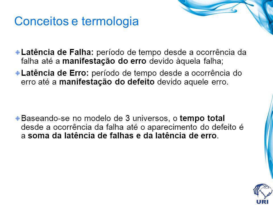 Conceitos e termologia Latência de Falha: período de tempo desde a ocorrência da falha até a manifestação do erro devido àquela falha; Latência de Err
