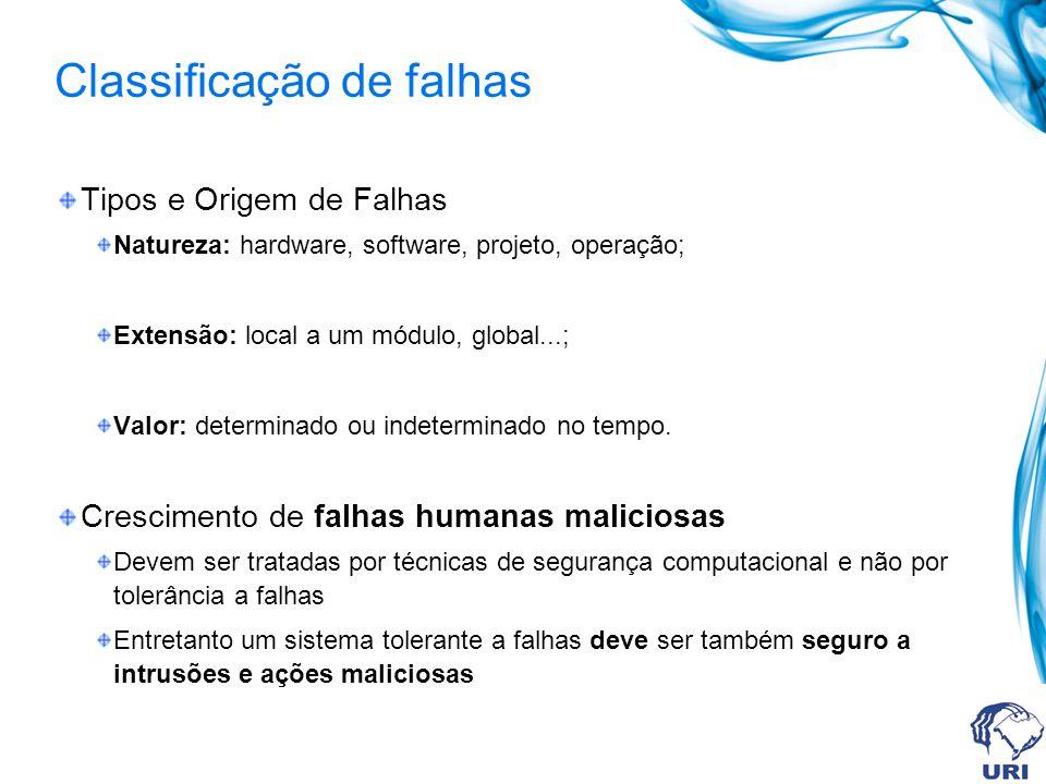 Classificação de falhas Tipos e Origem de Falhas Natureza: hardware, software, projeto, operação; Extensão: local a um módulo, global...; Valor: deter