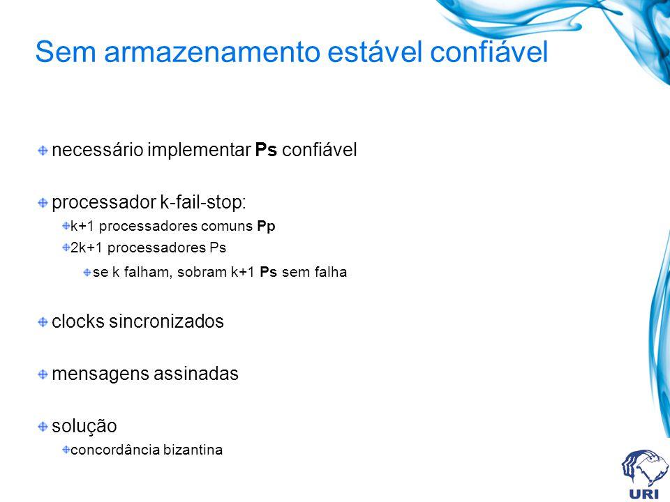 necessário implementar Ps confiável processador k-fail-stop: k+1 processadores comuns Pp 2k+1 processadores Ps se k falham, sobram k+1 Ps sem falha cl