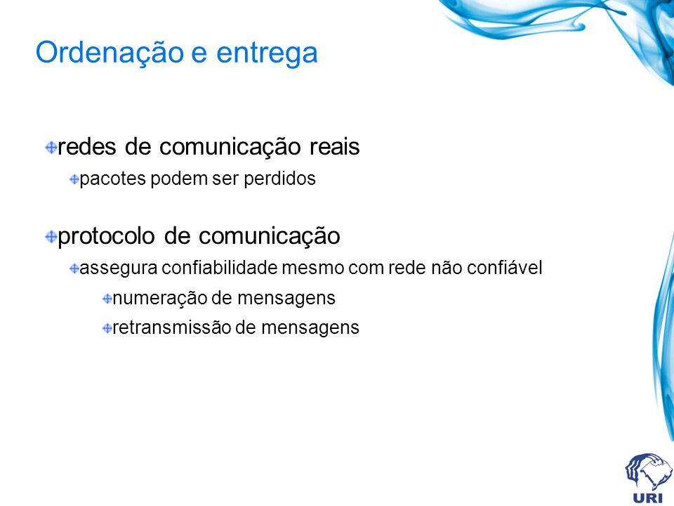 redes de comunicação reais pacotes podem ser perdidos protocolo de comunicação assegura confiabilidade mesmo com rede não confiável numeração de mensagens retransmissão de mensagens Ordenação e entrega