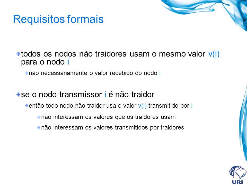 todos os nodos não traidores usam o mesmo valor v(i) para o nodo i não necessariamente o valor recebido do nodo i se o nodo transmissor i é não traido
