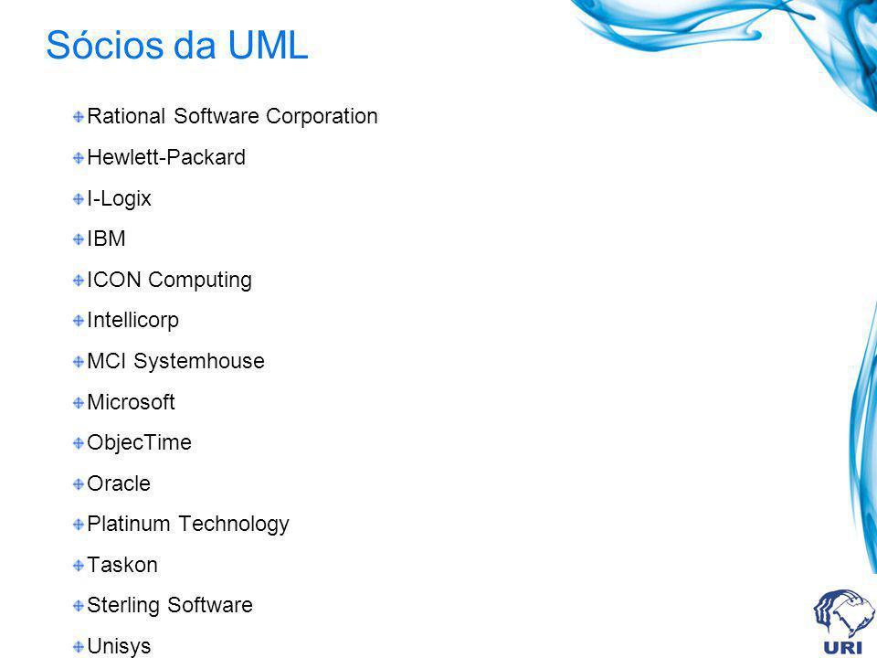 Sócios da UML Rational Software Corporation Hewlett-Packard I-Logix IBM ICON Computing Intellicorp MCI Systemhouse Microsoft ObjecTime Oracle Platinum