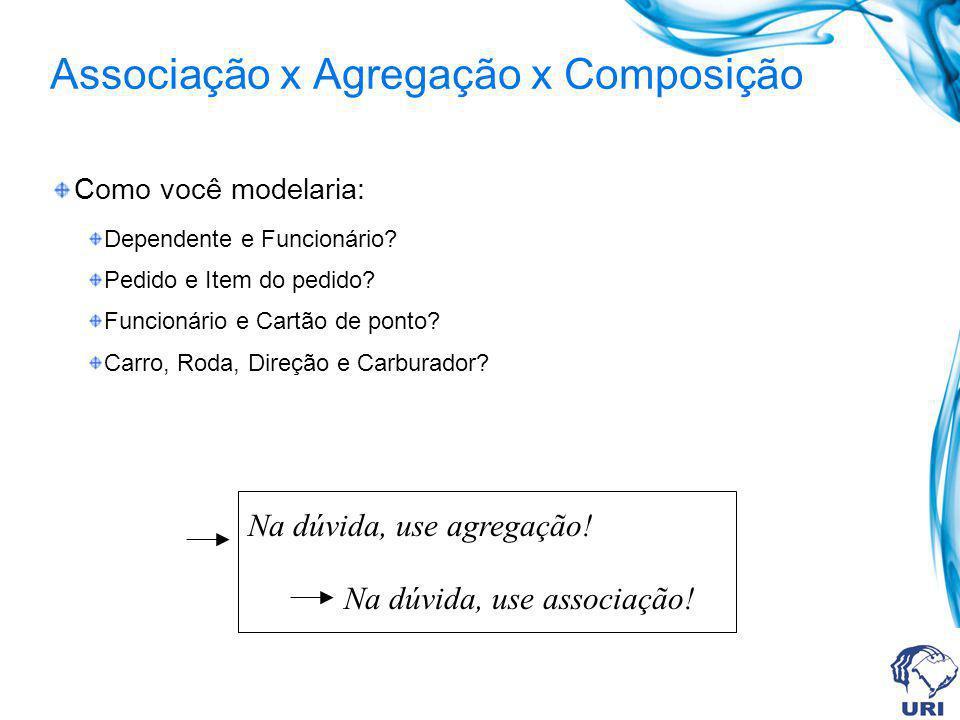 Associação x Agregação x Composição Como você modelaria: Dependente e Funcionário? Pedido e Item do pedido? Funcionário e Cartão de ponto? Carro, Roda