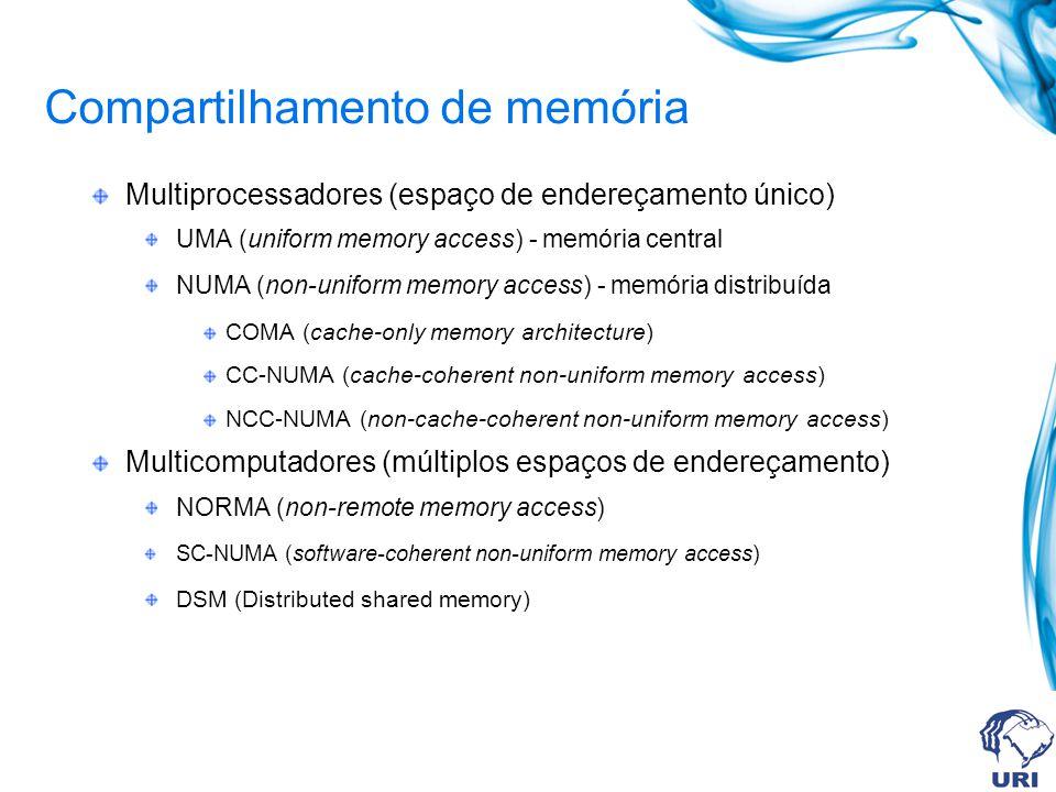 Compartilhamento de memória Multiprocessadores (espaço de endereçamento único) UMA (uniform memory access) - memória central NUMA (non-uniform memory