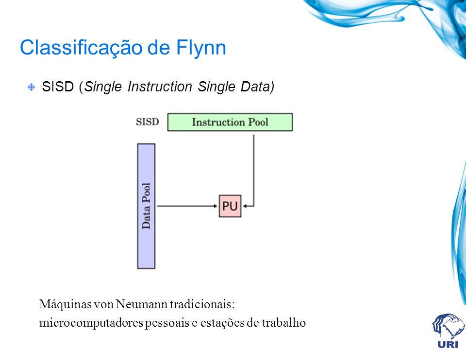 Classificação de Flynn SISD (Single Instruction Single Data) Máquinas von Neumann tradicionais: microcomputadores pessoais e estações de trabalho