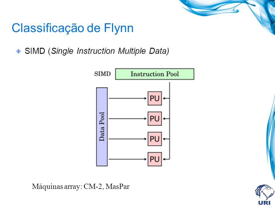 Classificação de Flynn SIMD (Single Instruction Multiple Data) Máquinas array: CM-2, MasPar
