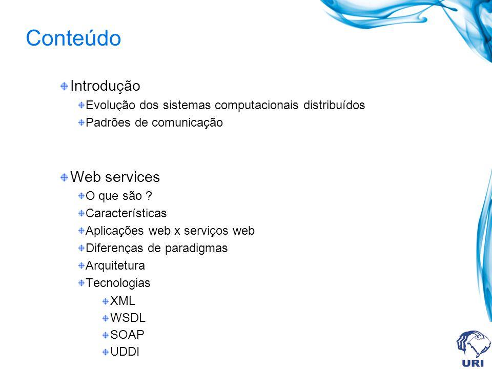 Conteúdo Introdução Evolução dos sistemas computacionais distribuídos Padrões de comunicação Web services O que são ? Características Aplicações web x