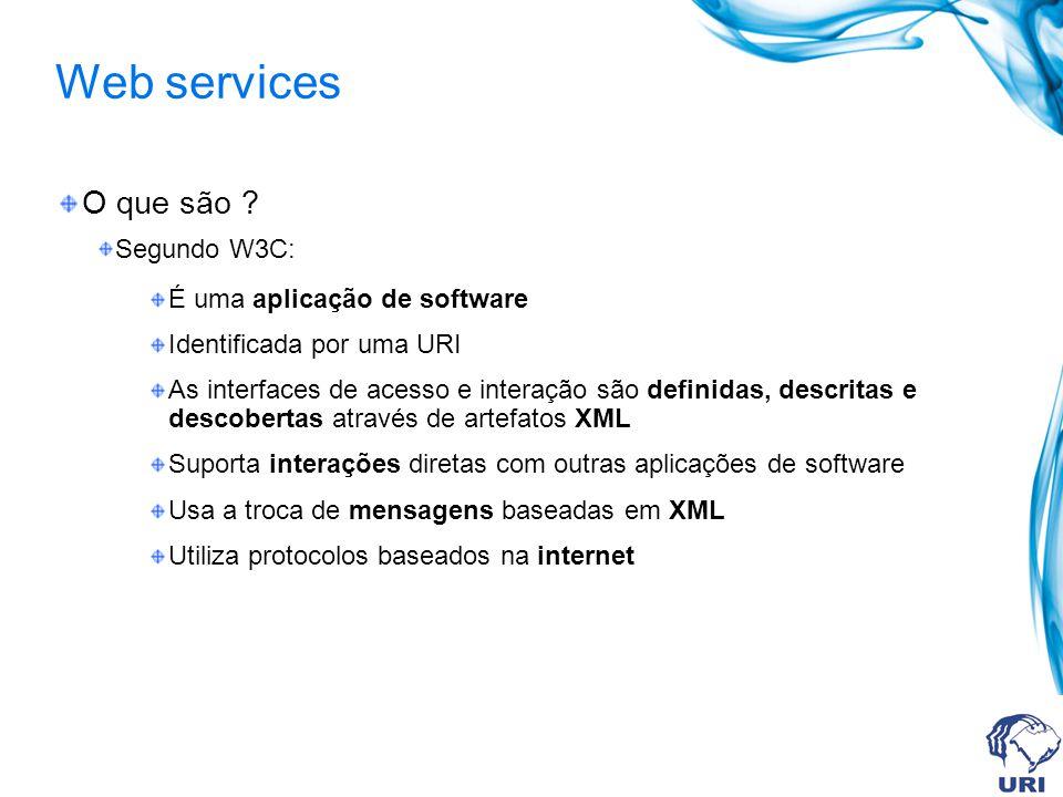 Web services O que são ? Segundo W3C: É uma aplicação de software Identificada por uma URI As interfaces de acesso e interação são definidas, descrita