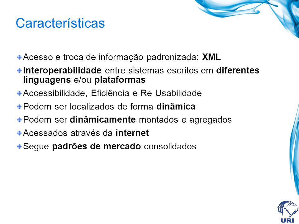 Características Acesso e troca de informação padronizada: XML Interoperabilidade entre sistemas escritos em diferentes linguagens e/ou plataformas Acc
