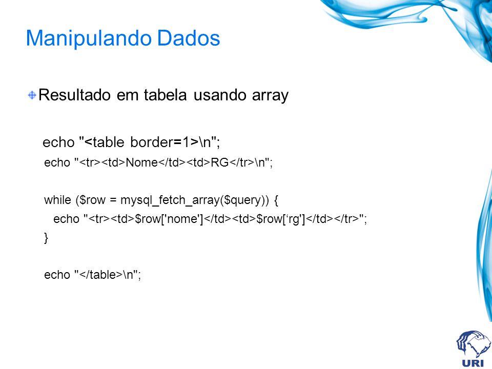 Manipulando Dados Resultado em tabela usando array echo \n ; echo Nome RG \n ; while ($row = mysql_fetch_array($query)) { echo $row[ nome ] $row[rg ] ; } echo \n ;