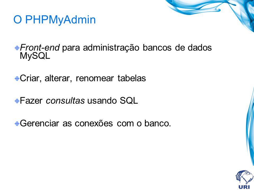 O PHPMyAdmin Front-end para administração bancos de dados MySQL Criar, alterar, renomear tabelas Fazer consultas usando SQL Gerenciar as conexões com o banco.