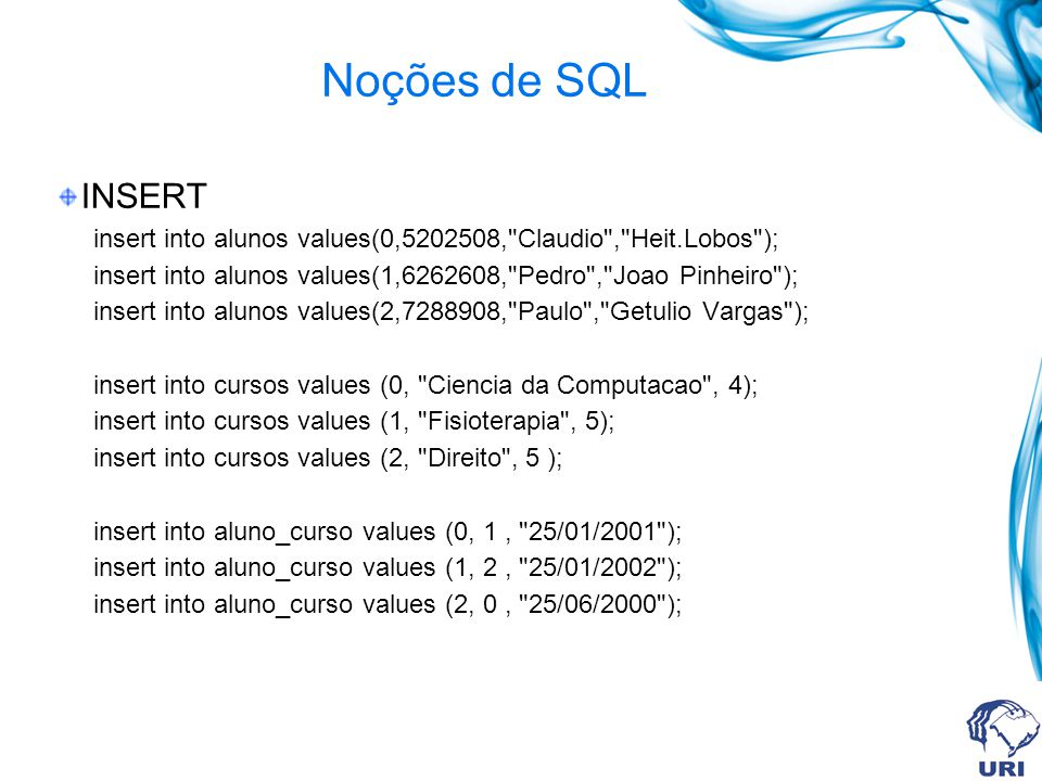 Noções de SQL INSERT insert into alunos values(0,5202508, Claudio , Heit.Lobos ); insert into alunos values(1,6262608, Pedro , Joao Pinheiro ); insert into alunos values(2,7288908, Paulo , Getulio Vargas ); insert into cursos values (0, Ciencia da Computacao , 4); insert into cursos values (1, Fisioterapia , 5); insert into cursos values (2, Direito , 5 ); insert into aluno_curso values (0, 1, 25/01/2001 ); insert into aluno_curso values (1, 2, 25/01/2002 ); insert into aluno_curso values (2, 0, 25/06/2000 );