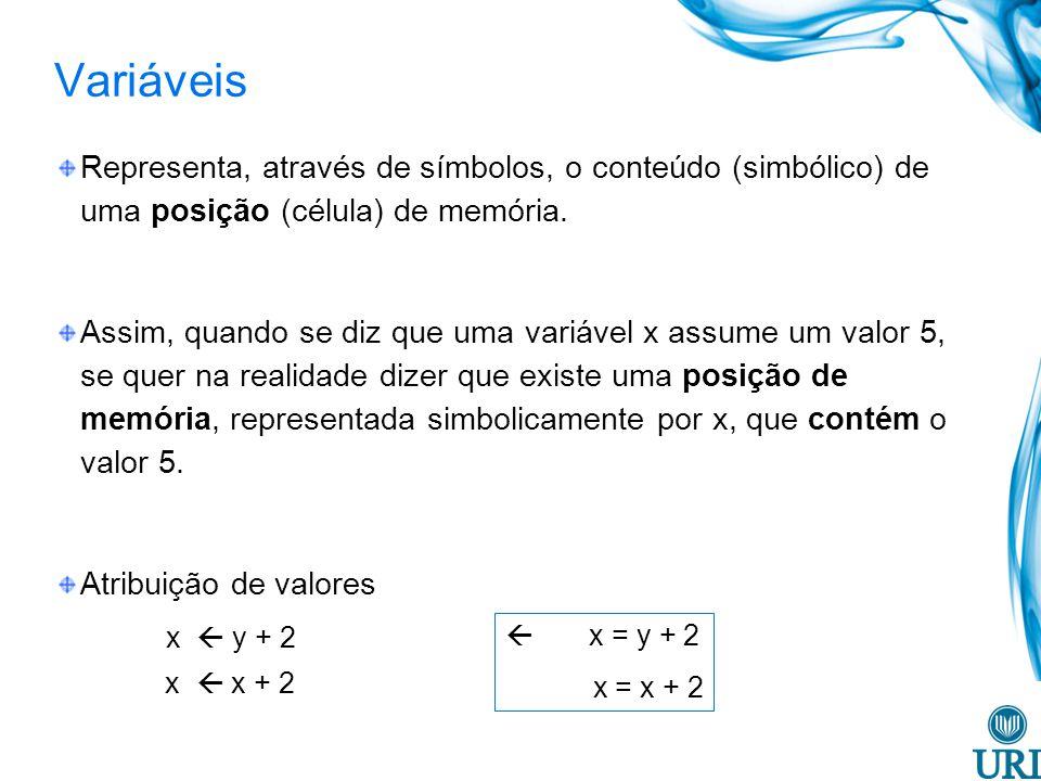 Variáveis Representa, através de símbolos, o conteúdo (simbólico) de uma posição (célula) de memória.