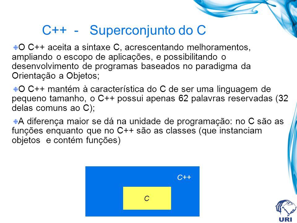 O C++ aceita a sintaxe C, acrescentando melhoramentos, ampliando o escopo de aplicações, e possibilitando o desenvolvimento de programas baseados no paradigma da Orientação a Objetos; O C++ mantém à característica do C de ser uma linguagem de pequeno tamanho, o C++ possui apenas 62 palavras reservadas (32 delas comuns ao C); A diferença maior se dá na unidade de programação: no C são as funções enquanto que no C++ são as classes (que instanciam objetos e contém funções) C++ - Superconjunto do C C++ C