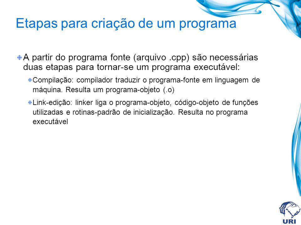 Etapas para criação de um programa A partir do programa fonte (arquivo.cpp) são necessárias duas etapas para tornar-se um programa executável: Compila