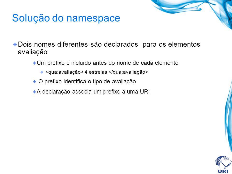 Solução do namespace Dois nomes diferentes são declarados para os elementos avaliação Um prefixo é incluído antes do nome de cada elemento 4 estrelas