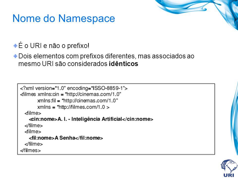 Nome do Namespace É o URI e não o prefixo! Dois elementos com prefixos diferentes, mas associados ao mesmo URI são considerados idênticos