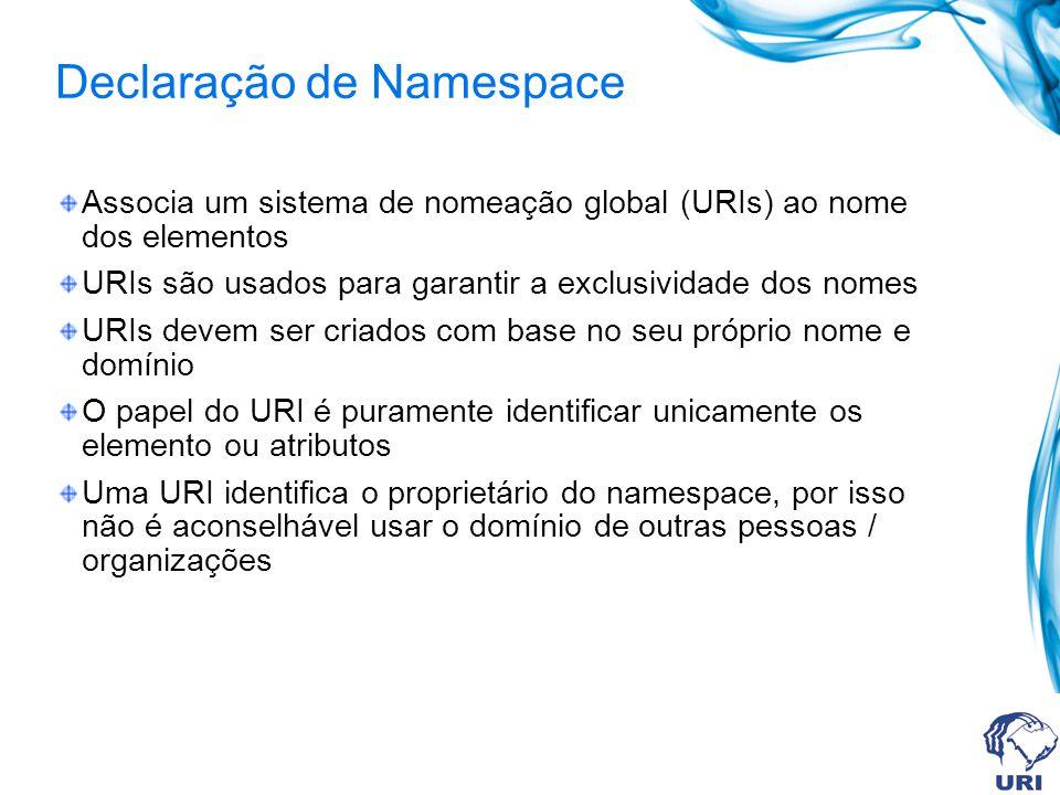 Declaração de Namespace Associa um sistema de nomeação global (URIs) ao nome dos elementos URIs são usados para garantir a exclusividade dos nomes URIs devem ser criados com base no seu próprio nome e domínio O papel do URI é puramente identificar unicamente os elemento ou atributos Uma URI identifica o proprietário do namespace, por isso não é aconselhável usar o domínio de outras pessoas / organizações