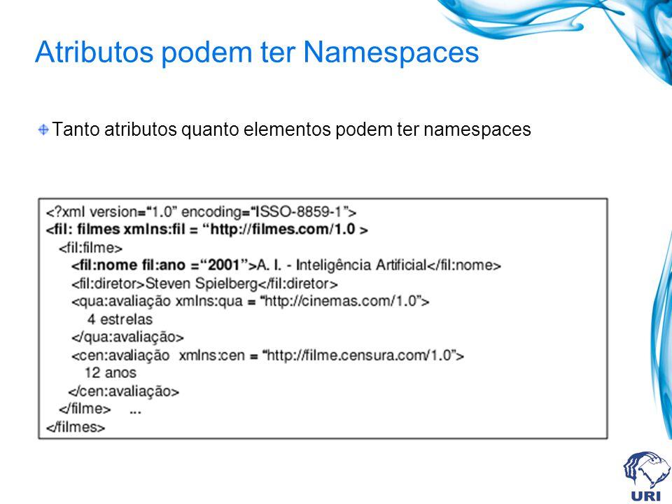 Atributos podem ter Namespaces Tanto atributos quanto elementos podem ter namespaces