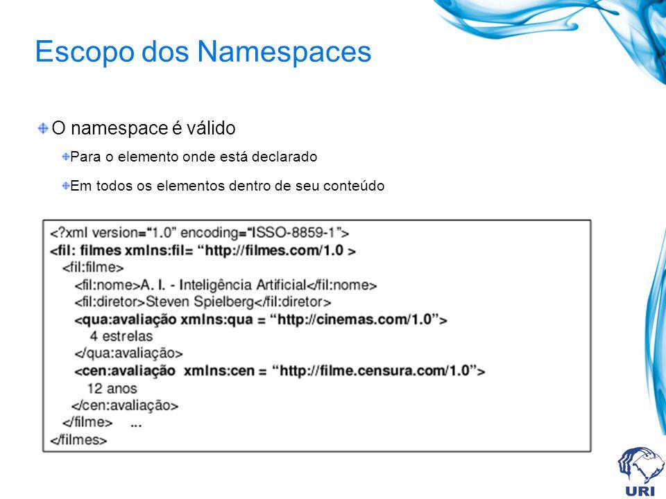 Escopo dos Namespaces O namespace é válido Para o elemento onde está declarado Em todos os elementos dentro de seu conteúdo
