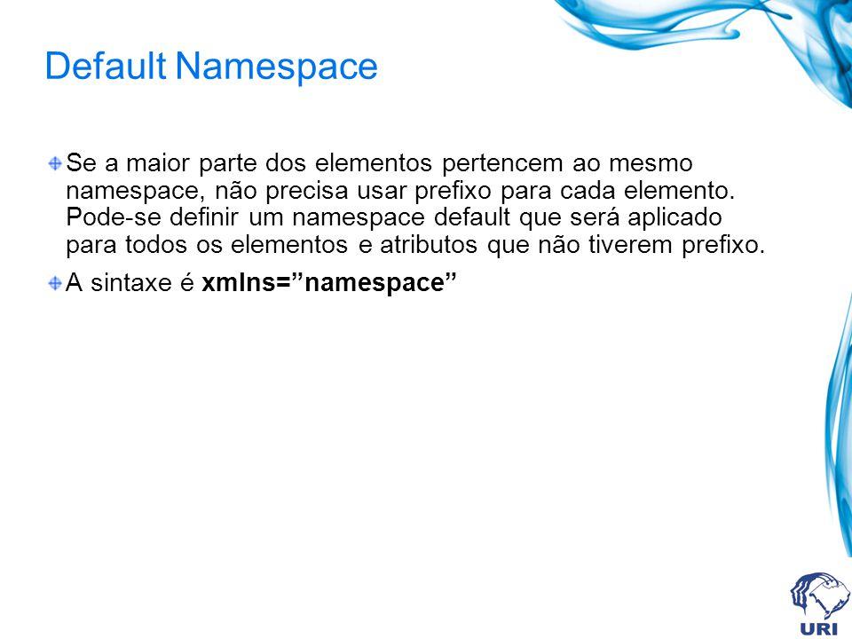 Default Namespace Se a maior parte dos elementos pertencem ao mesmo namespace, não precisa usar prefixo para cada elemento. Pode-se definir um namespa