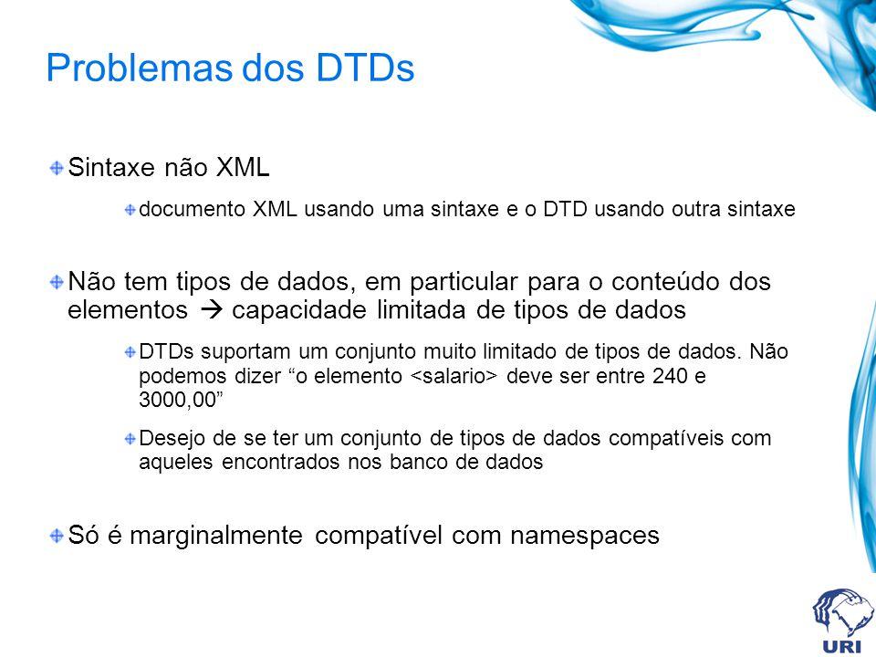 Problemas dos DTDs Sintaxe não XML documento XML usando uma sintaxe e o DTD usando outra sintaxe Não tem tipos de dados, em particular para o conteúdo dos elementos capacidade limitada de tipos de dados DTDs suportam um conjunto muito limitado de tipos de dados.