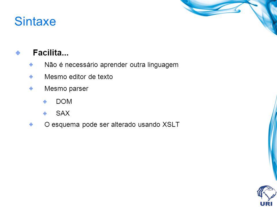 Sintaxe Facilita... Não é necessário aprender outra linguagem Mesmo editor de texto Mesmo parser DOM SAX O esquema pode ser alterado usando XSLT