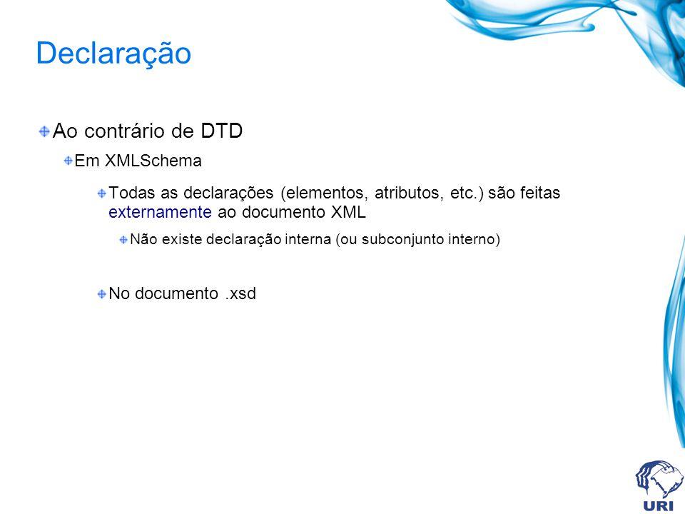 Declaração Ao contrário de DTD Em XMLSchema Todas as declarações (elementos, atributos, etc.) são feitas externamente ao documento XML Não existe decl
