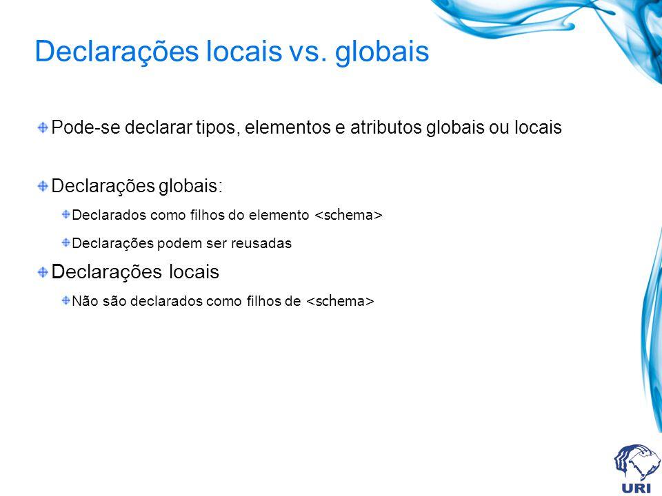 Declarações locais vs. globais Pode-se declarar tipos, elementos e atributos globais ou locais Declarações globais: Declarados como filhos do elemento